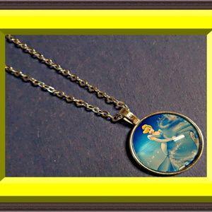 Disney Cinderella Design Necklace Silver Tone